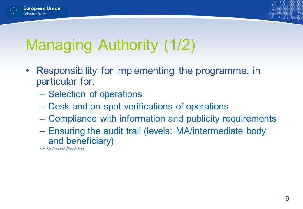 Managing Authority (1/2)