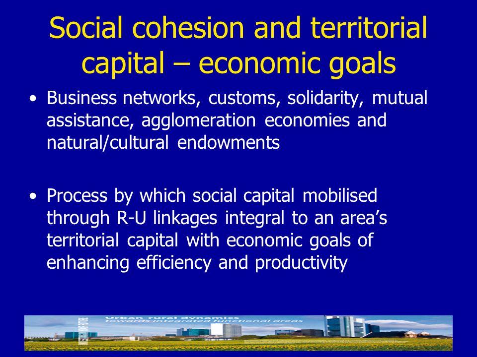 Social cohesion and territorial capital – economic goals