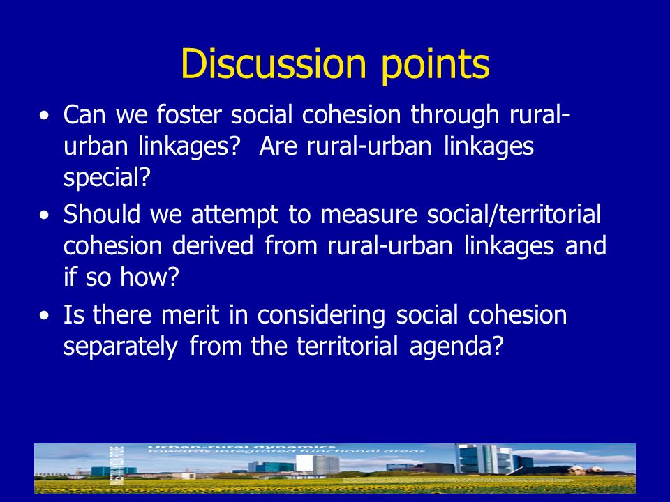 Discussion points Can we foster social cohesion through rural-urban linkages Are rural-urban linkages special