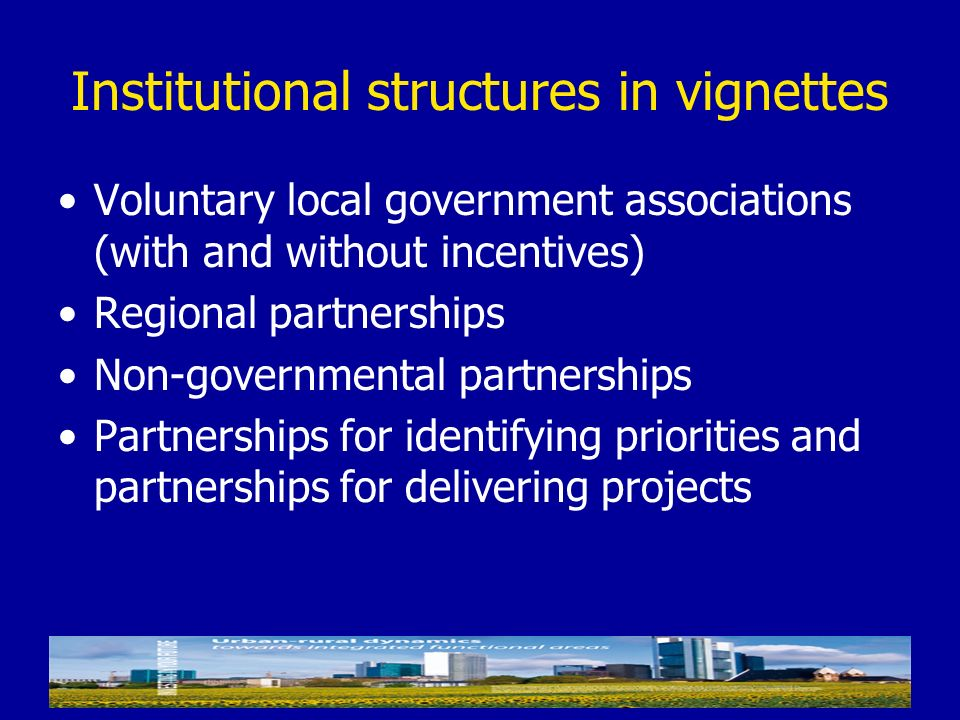 Institutional structures in vignettes