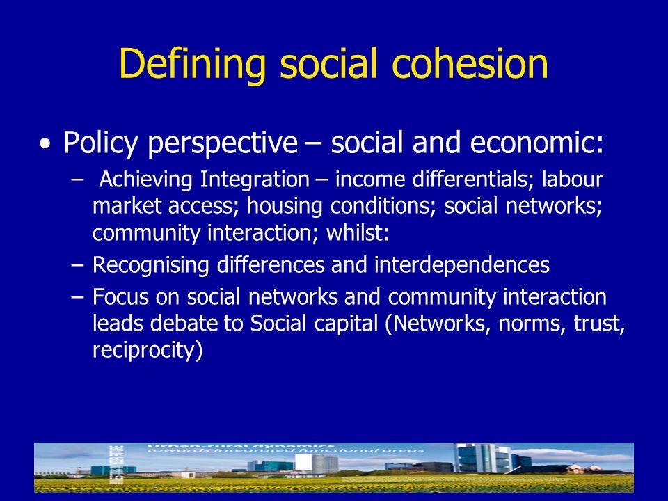 Defining social cohesion