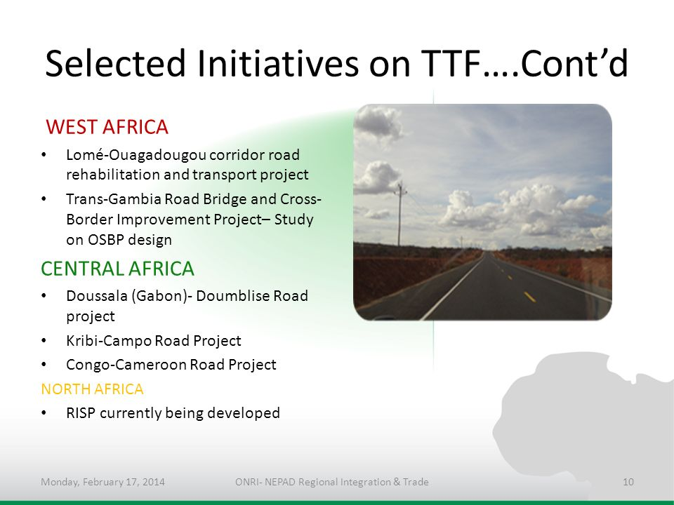 Selected Initiatives on TTF….Cont'd
