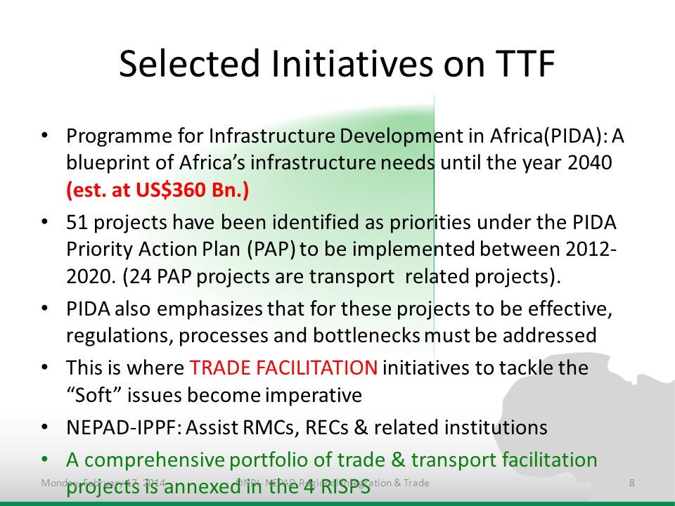 Selected Initiatives on TTF