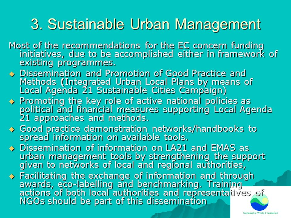 3. Sustainable Urban Management