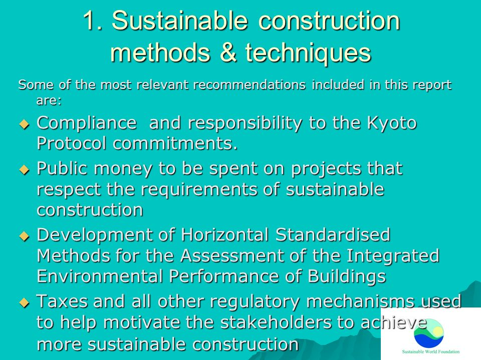 Sustainable construction methods & techniques