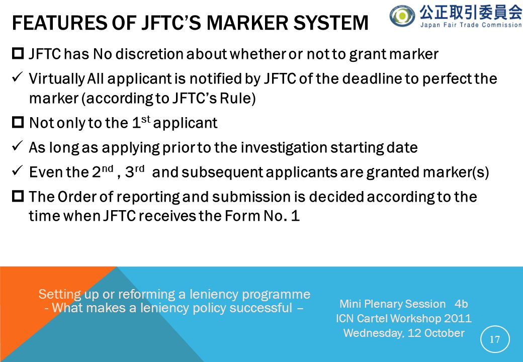 features of JFTC's Marker system