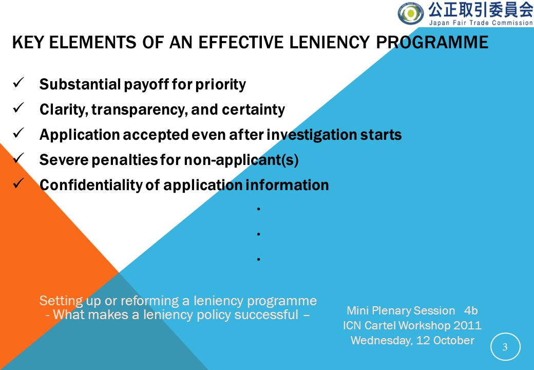 Key Elements of an effective leniency programme