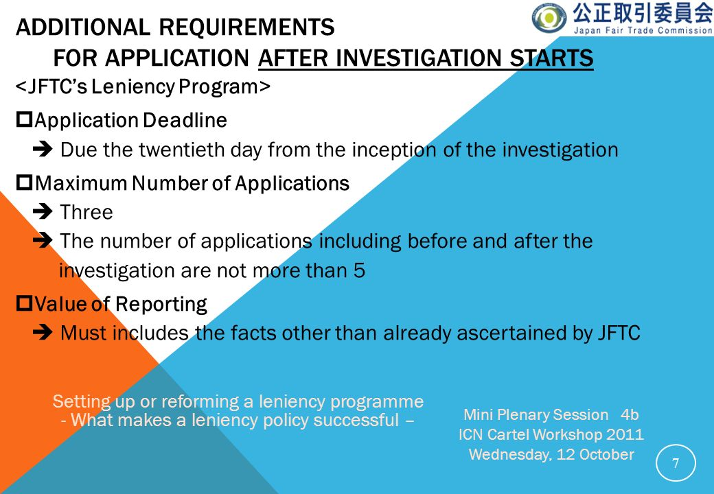 Additional requirements for Application after investigation starts