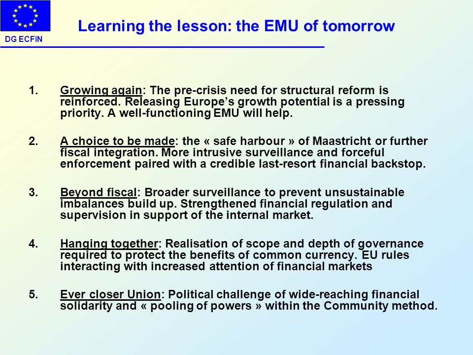Learning the lesson: the EMU of tomorrow