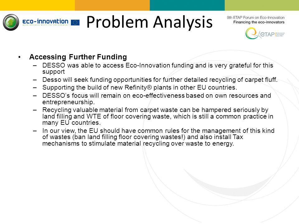 Problem Analysis Accessing Further Funding