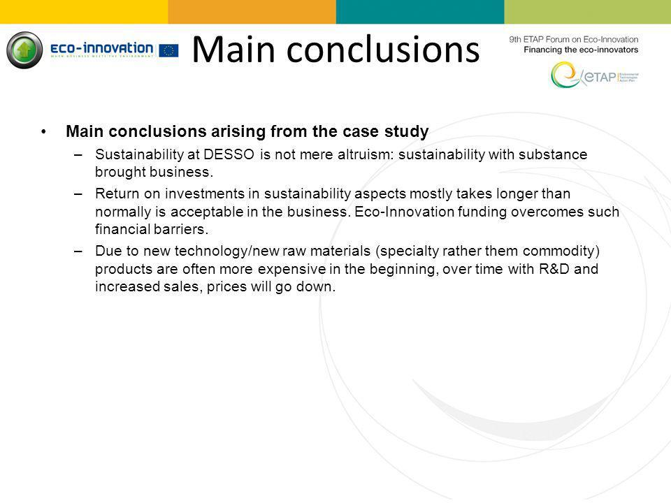 Main conclusions Main conclusions arising from the case study