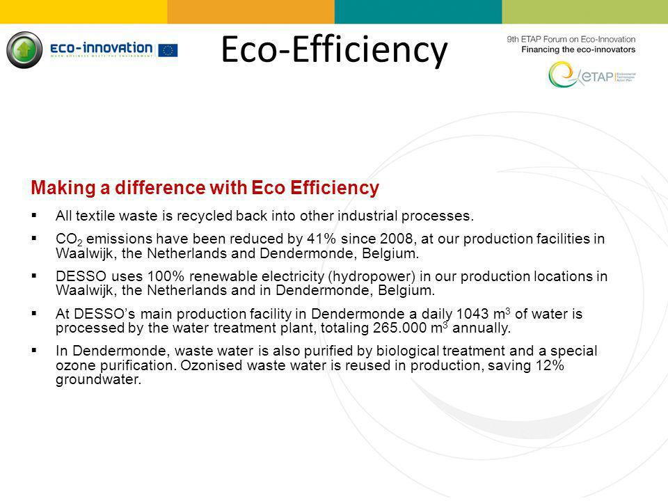Eco-Efficiency Making a difference with Eco Efficiency