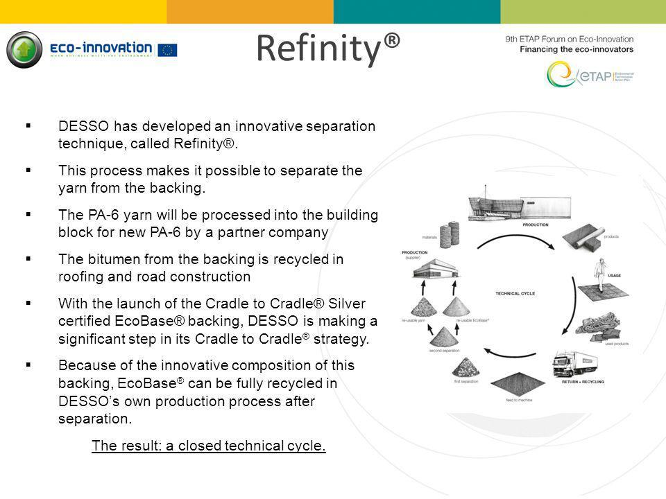 Refinity® DESSO has developed an innovative separation technique, called Refinity®.