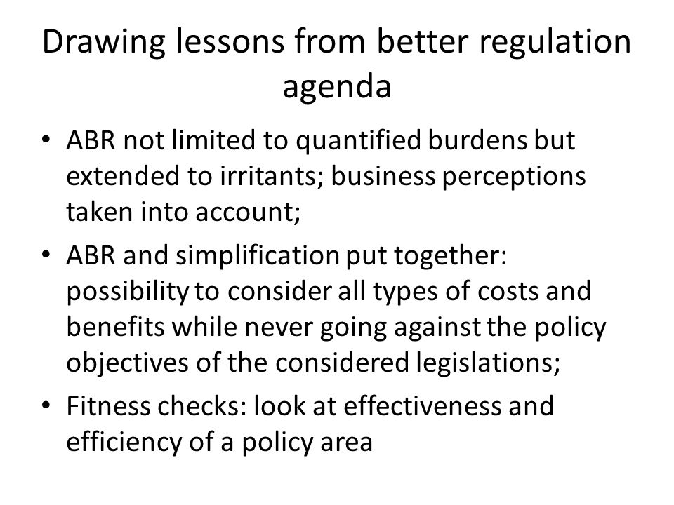 Smart regulation Communication Drawing lessons from better regulation agenda