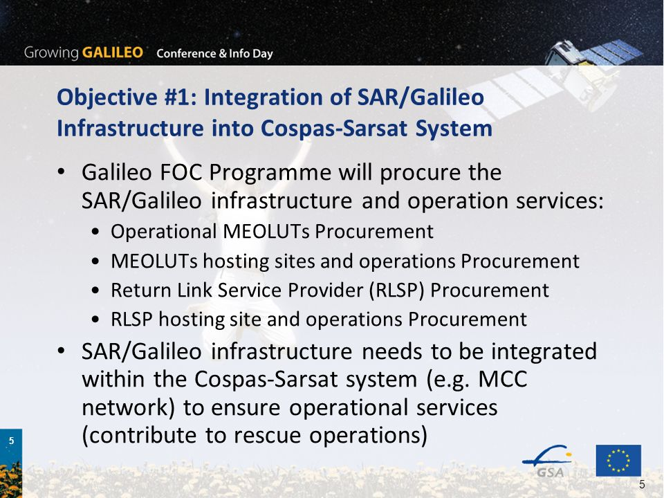 Objective #1: Integration of SAR/Galileo Infrastructure into Cospas-Sarsat System