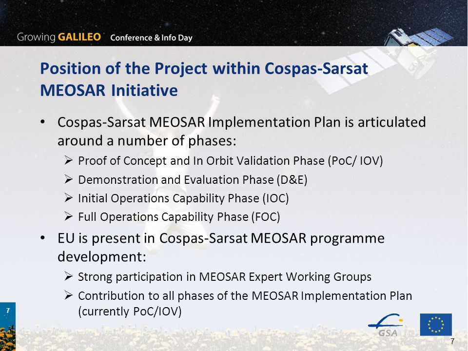Position of the Project within Cospas-Sarsat MEOSAR Initiative