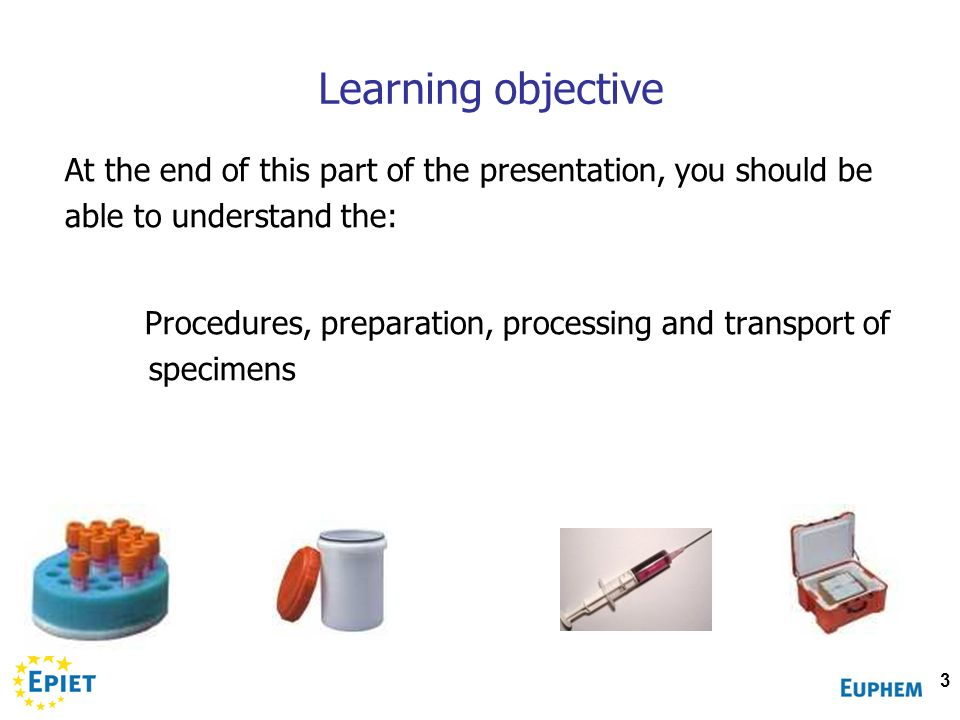 Learning objective At the end of this part of the presentation, you should be able to understand the: