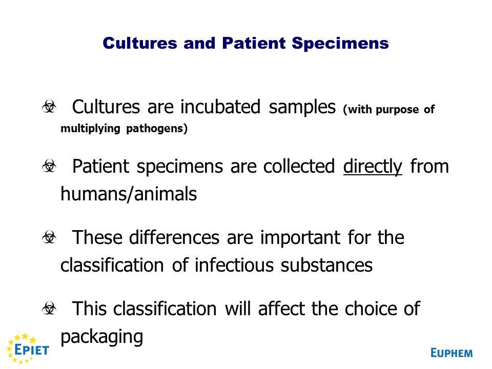 Cultures and Patient Specimens
