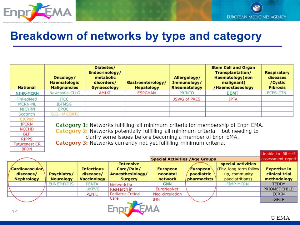 Breakdown of networks by type and category