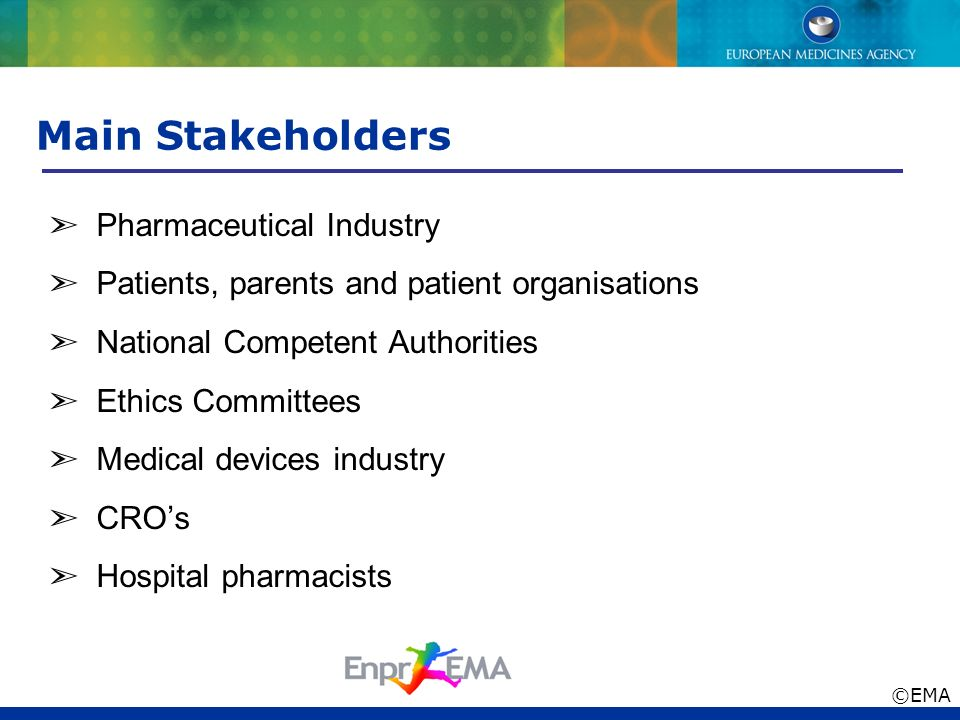 Main Stakeholders ➣ Pharmaceutical Industry