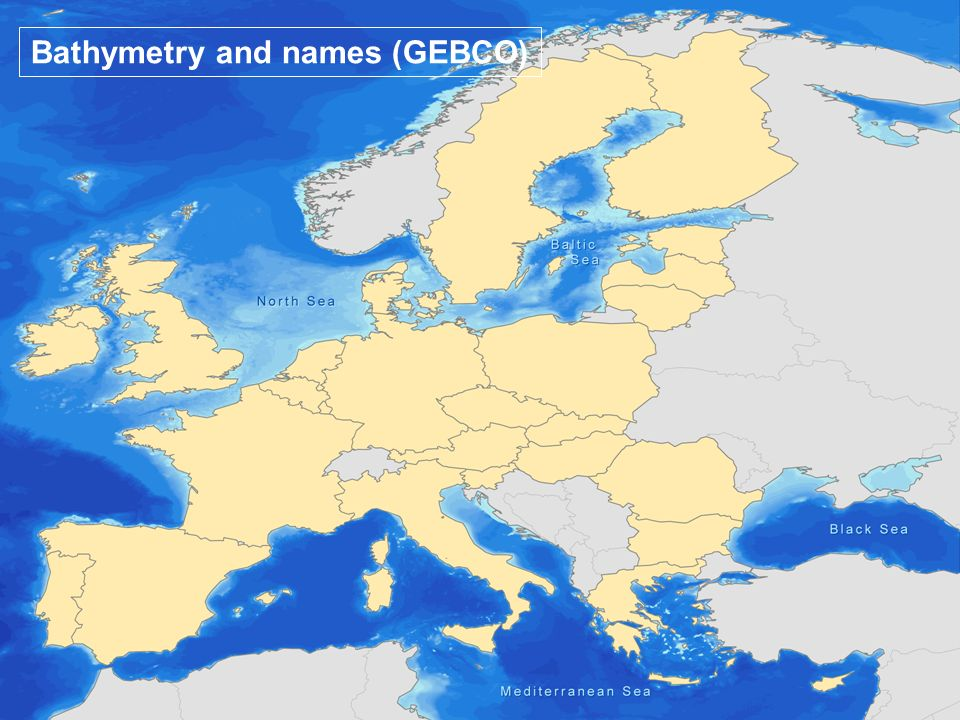 Bathymetry and names (GEBCO)