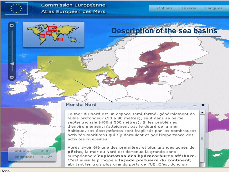 Description of the sea basins