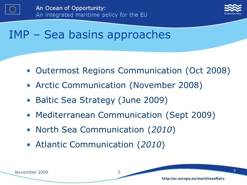 IMP – Sea basins approaches