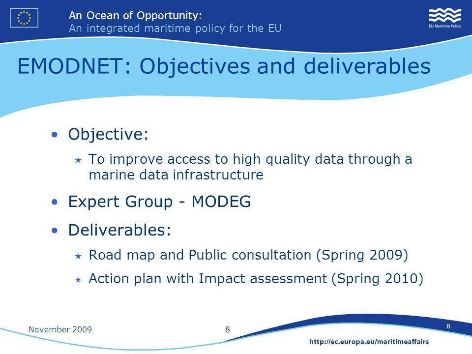 EMODNET: Objectives and deliverables
