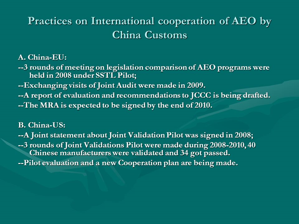 Practices on International cooperation of AEO by China Customs