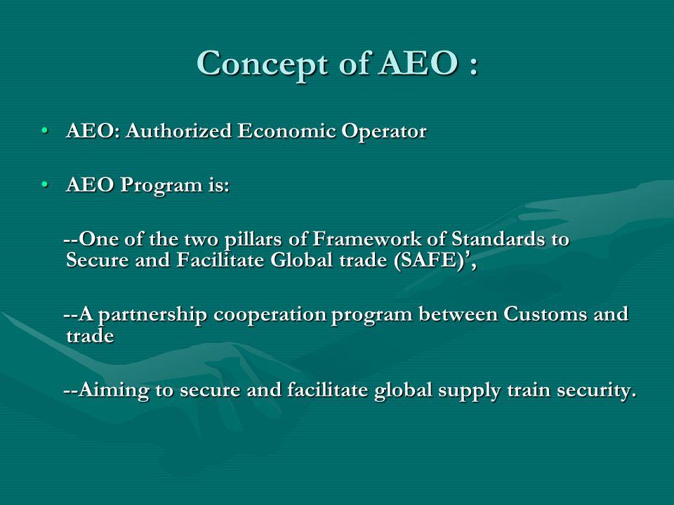 Concept of AEO : AEO: Authorized Economic Operator AEO Program is: