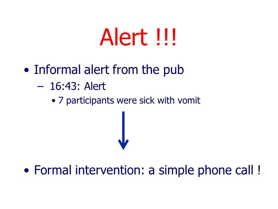 Alert !!! Informal alert from the pub