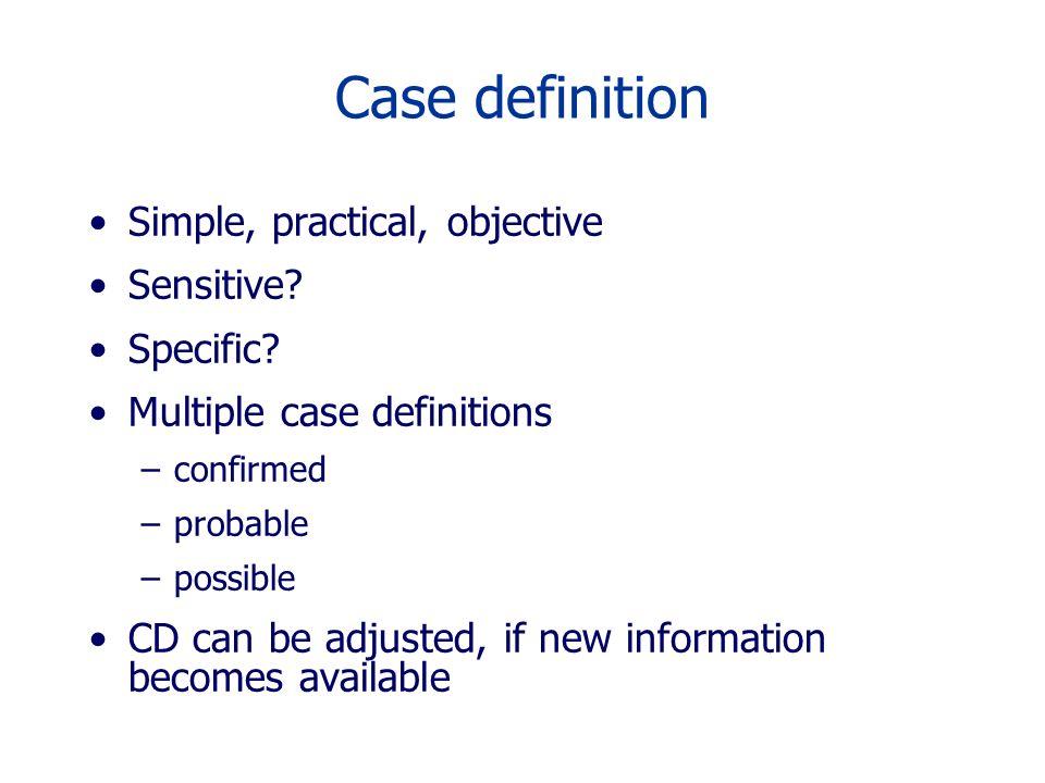 Case definition Simple, practical, objective Sensitive Specific