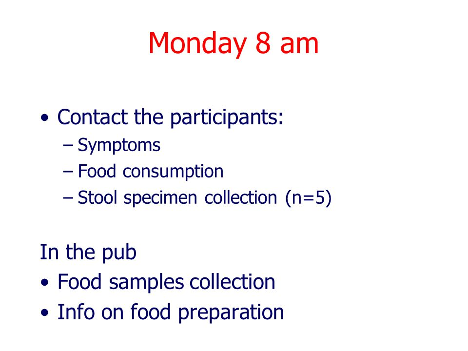 Monday 8 am Contact the participants: In the pub