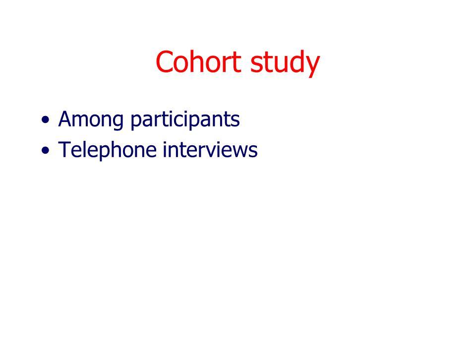 Cohort study Among participants Telephone interviews