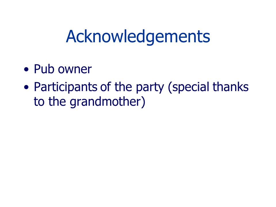 Acknowledgements Pub owner