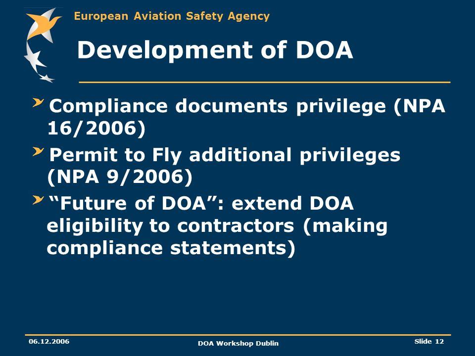 Development of DOA Compliance documents privilege (NPA 16/2006)