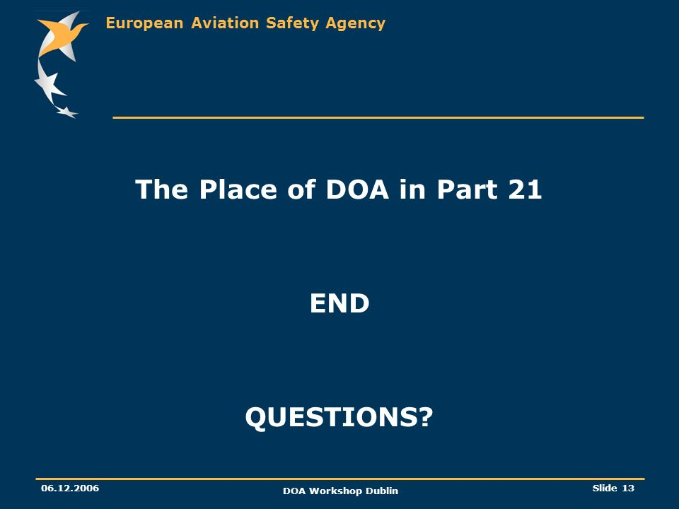 The Place of DOA in Part 21 END QUESTIONS