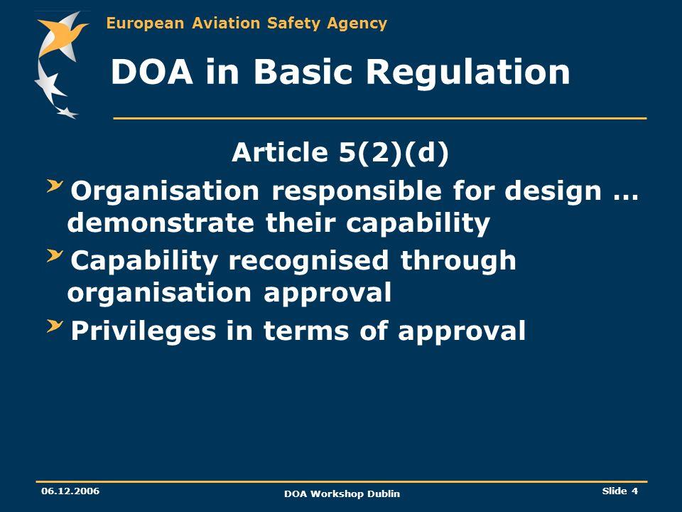 DOA in Basic Regulation