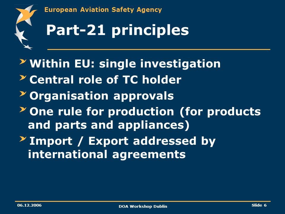 Part-21 principles Within EU: single investigation