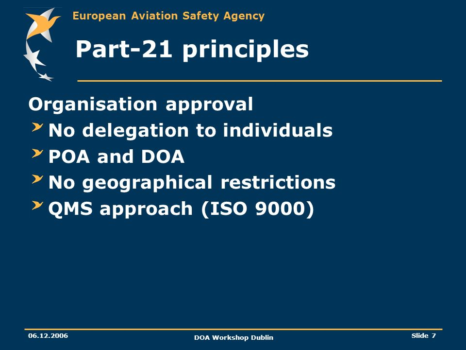 Part-21 principles Organisation approval No delegation to individuals