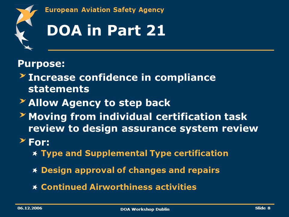 DOA in Part 21 Purpose: Increase confidence in compliance statements