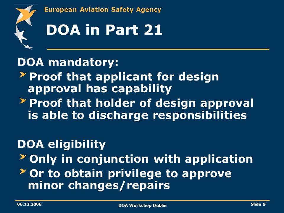 DOA in Part 21 DOA mandatory: