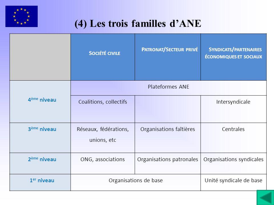 (4) Les trois familles d'ANE
