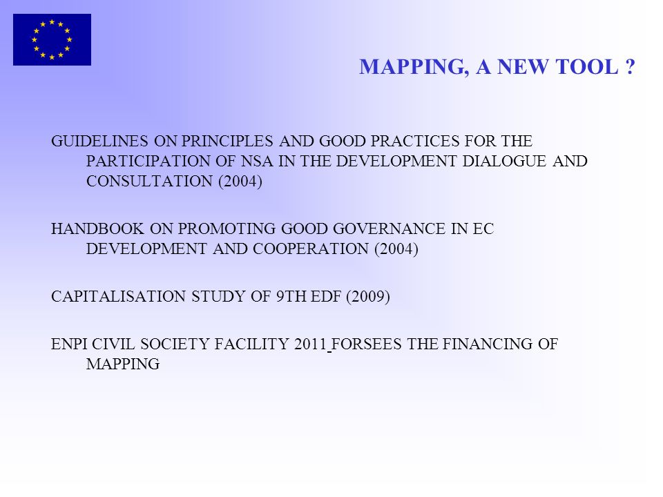MAPPING, A NEW TOOL GUIDELINES ON PRINCIPLES AND GOOD PRACTICES FOR THE PARTICIPATION OF NSA IN THE DEVELOPMENT DIALOGUE AND CONSULTATION (2004)