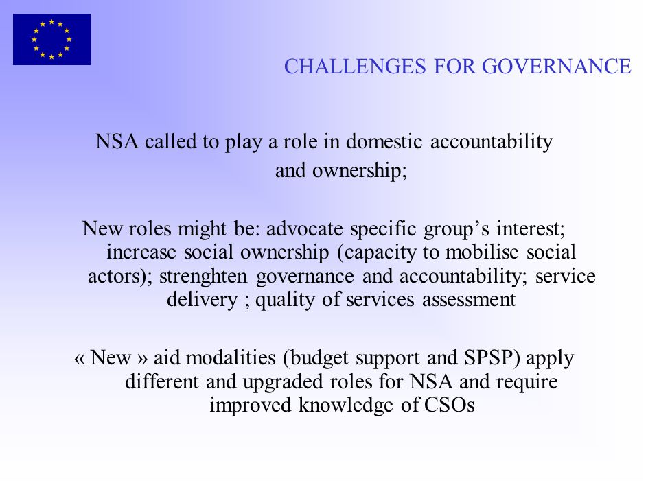 CHALLENGES FOR GOVERNANCE