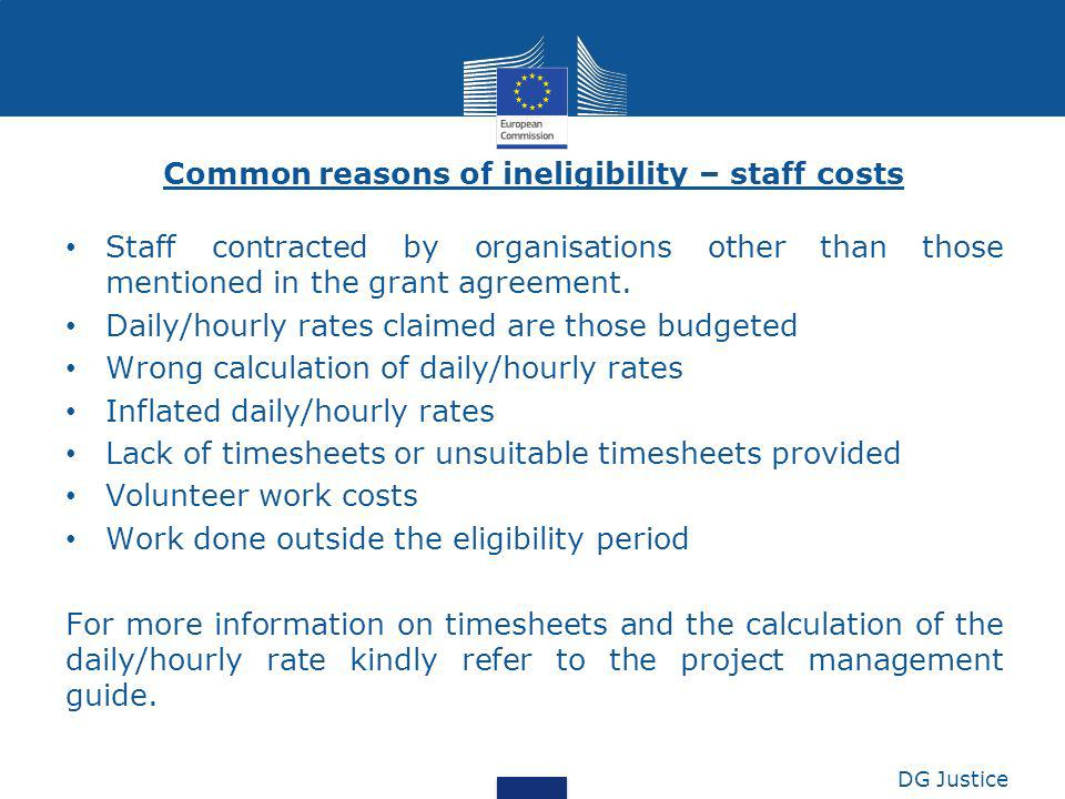 Common reasons of ineligibility – staff costs