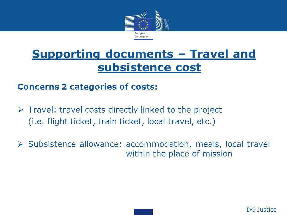 Supporting documents – Travel and subsistence cost