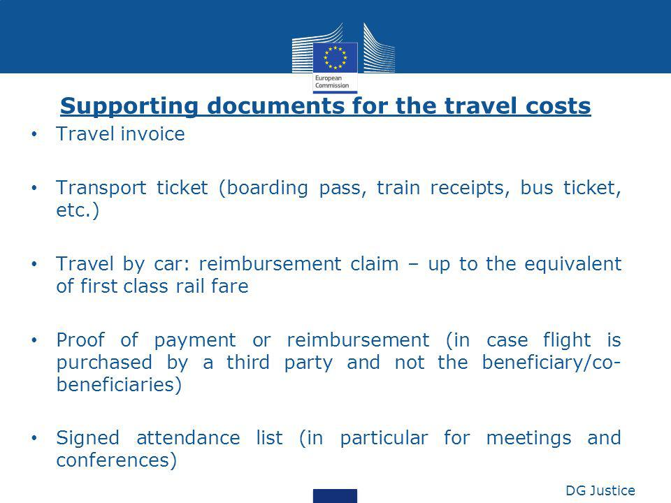 Supporting documents for the travel costs