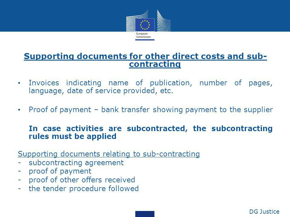 Supporting documents for other direct costs and sub-contracting