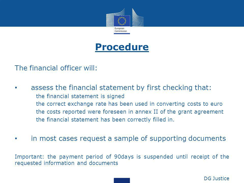 Procedure The financial officer will: